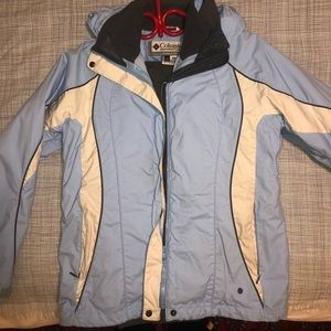 Columbia blue and white very warm winter coat